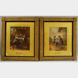 After Meyer von Bremen, (German, 1813-1836)      Two Scenes of Children.