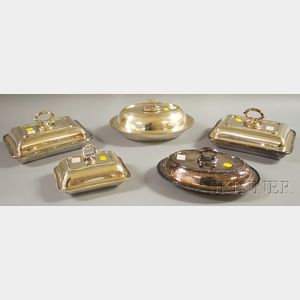 Five Silver-plated Covered Vegetable Dishes