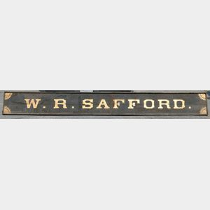 "Painted ""W.R. SAFFORD"" Trade Sign"