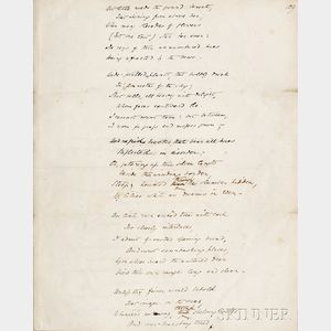 Browning, Elizabeth Barrett (1806-1861) The Island,   Original Holograph Manuscript Leaf, [pre-1838.]