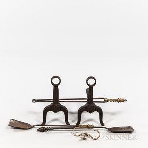 Pair of Cast Iron Andirons, Shovel, Tongs, and Jamb Hook