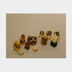 Ten Japanese Carved Ivory Netsuke.