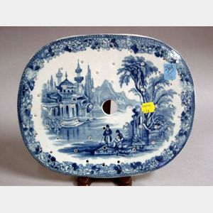 Oval Blue and White Transfer Decorated Pierced Staffordshire Insert.