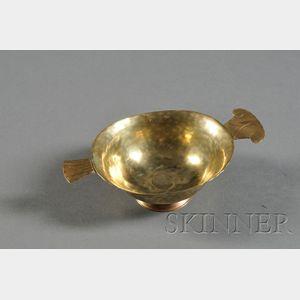C.G. Hellberg Arts & Crafts Oval Hammered Brass Bowl