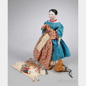 Early China Head Doll and Dress and a Group of Paper Dolls