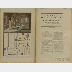 Five Framed French Hand-colored Engravings on Mechanics and Architecture