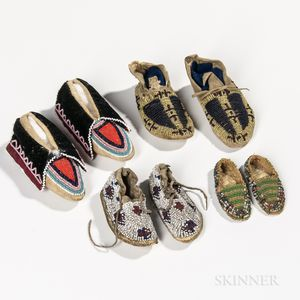 Four Pairs of Beaded Hide Infant's Moccasins