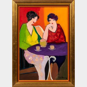 Itzchak (Isaac) Tarkay (Israeli, 1935-2012)      Two Women at a Cafe Table.