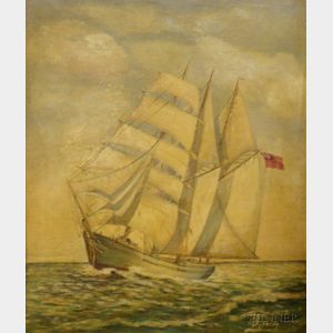 Framed Oil on Board View of a Sailing Vessel