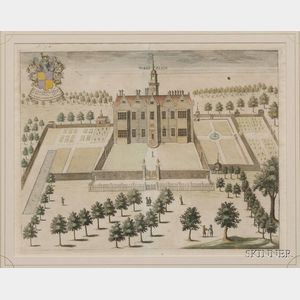 Lot of Four Architectural Prints:      British School, 18th Century, Mores Place,   Brent Pelham Hall