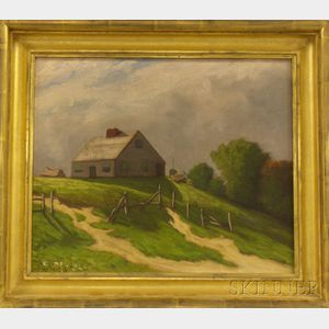 Framed Oil on Canvas Landscape with a House on a Hill by Henry Hammond      Gallison (American, 1850-1910)