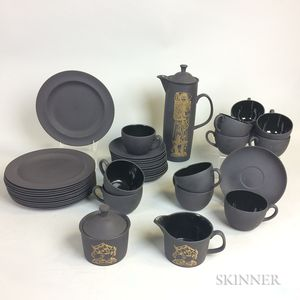 Thirty-nine-piece Robert Minkin for Wedgwood Black Basalt Coffee Service.