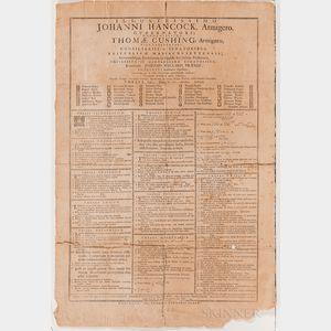 Harvard College Theses. Illustrissimo Johanni Hancock, Armigero, Gubernatori; Honoratissimo Thomae Cushing, Armigero.