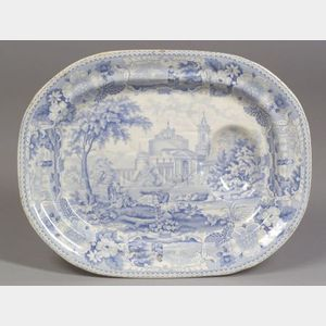 L.M. & S. Light Blue and White Italian Scenery Pattern Transfer Decorated Staffordshire Well and Tree Platter.