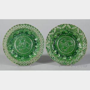 Pair of Staffordshire Green Glazed Earthenware Fruit Plates