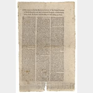 (Declaration for Taking up Arms, Second Continental Congress)