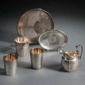 Six Pieces of Mostly George III Silver Hollowware