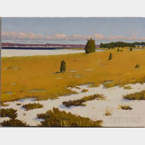Hillary Osborn (American, b. 1965)      The Frozen Inlet, Buzzards Bay, Massachusetts