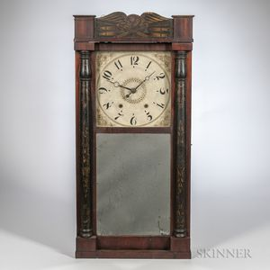 Eli Terry Stencil-decorated Split-baluster Shelf Clock