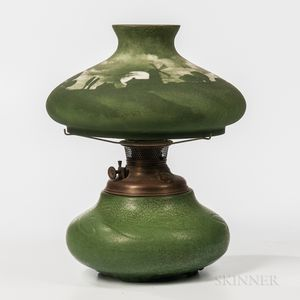 Handel Shade on Hampshire Pottery Lamp Base