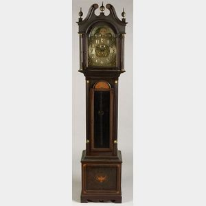 George III Style Inlaid Mahogany Quarter Striking and Chiming Tall Case Clock