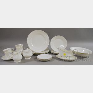 Twenty-five-piece Wedgwood Silver Ermine Pattern Porcelain Partial Dinner Service.