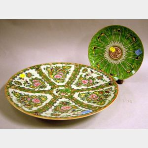 Chinese Export Porcelain Rose Canton Charger and a Cabbage Leaf Pattern Plate.