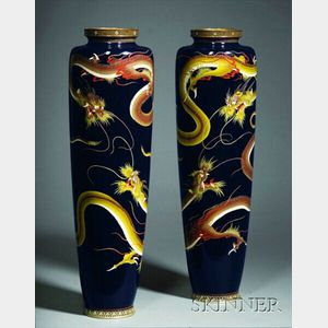 Sold for: $49,938 - Pair of Silver Wire Cloisonne Vases