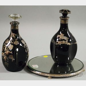Two Black Opaque Glass Decanters with Sterling Overlay