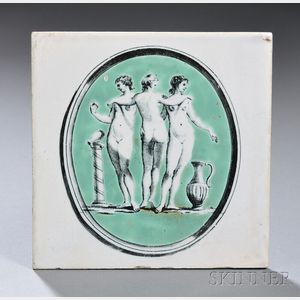 Tin Glazed Liverpool Tile of The Three Graces
