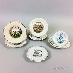 Nine Staffordshire Transfer-decorated Ceramic Plates