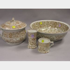 Four-Piece J. F. Wileman Sepia French Pattern Transfer Decorated Ceramic Chamber Set.
