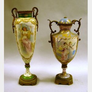 Two Sevres-style Gilt Ormolu Mounted Handpainted Porcelain Vases