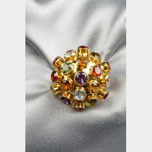 """18kt Gold Gem-set """"Sputnik"""" Ring"""