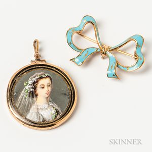 18kt Gold and Enameled Bow Brooch and Hand-painted Pendant