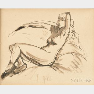 Attributed to Robert Henri (American, 1865-1929)      Seated Nude
