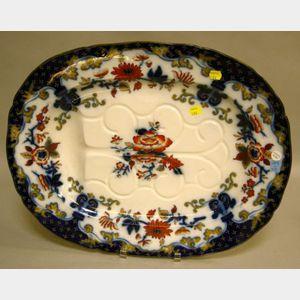 English Imari Palette Ironstone Well and Tree Platter.