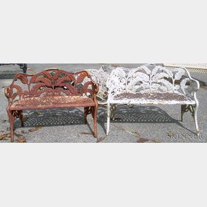Two Diminutive Cast Iron Fern Pattern Garden Seats