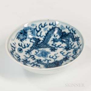 Small Blue and White Dragon Dish