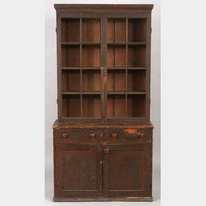 Federal Painted Poplar Glazed Bookcase Cupboard