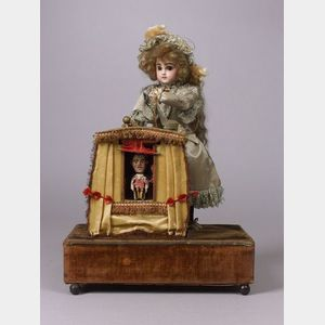 Rare Renou Automaton of  a Magician with Puppet Booth