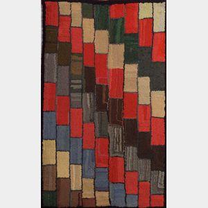 Geometric Wool Hooked Rug
