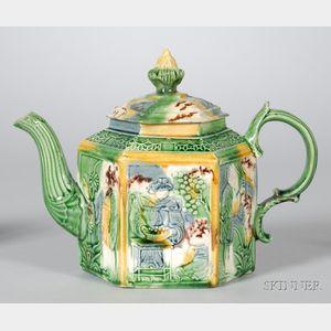 Staffordshire Lead Glazed Creamware Hexagonal Teapot and Cover
