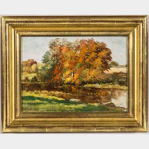 Edward Burrill Jr. (American, 1835-1913)      On Mill Stream, Byfield, Mass