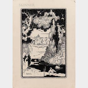 Herbert Moesbury Smyrk (Australian, 1862-1947)      Four Illustrations: Cliffside Waves, Coastline Storm, The Lovers Meeting