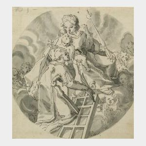 Lot of Two Drawings Including:  Manner of Jan Frans von Bloemen (Flemish, 1662-1749), The Formal Gardens