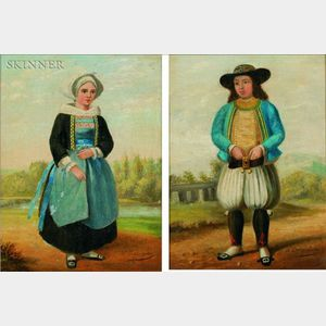 French School, 19th Century    Pair of Portraits of Peasants in the Countryside