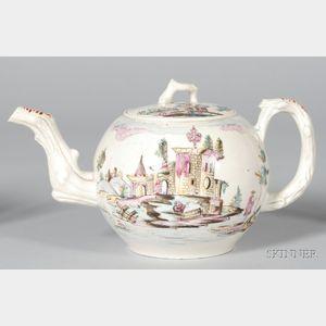 Staffordshire White Saltglazed Stoneware Globular Teapot and Cover