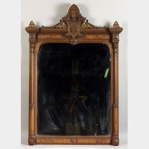 American Reformed Gothic Parcel Gilt Walnut Hall Mirror