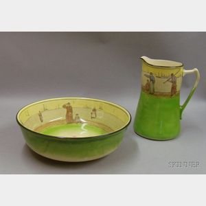 Green Decorated Royal Doulton Pitcher and Basin